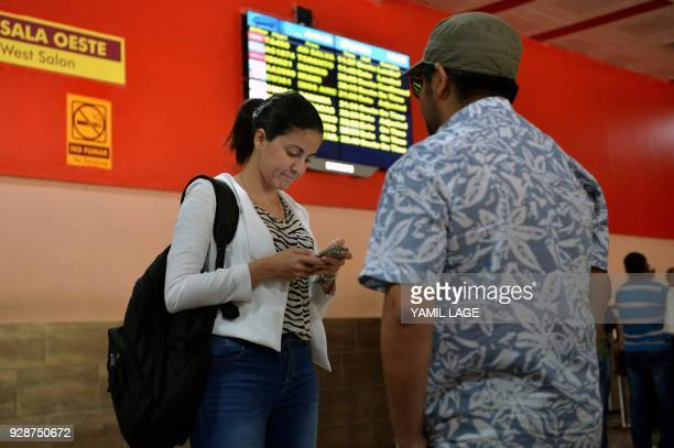 Rosa Maria Paya daughter of deceased Cuban opposition leader Oswaldo Paya is pictured at Jose Marti airport in Havana as she waits for the arrival of...
