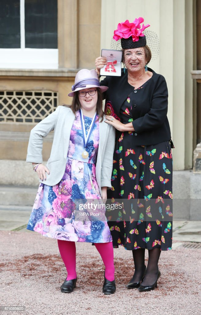 Rosa Monckton, a friend of the late Diana, Princess of Wales, with her daughter Domencia, goddaughter of the Diana, Princess of Wales after she was awarded an MBE by Queen Elizabeth II at Buckingham Palace on November 14, 2017 in London, United Kingdom.