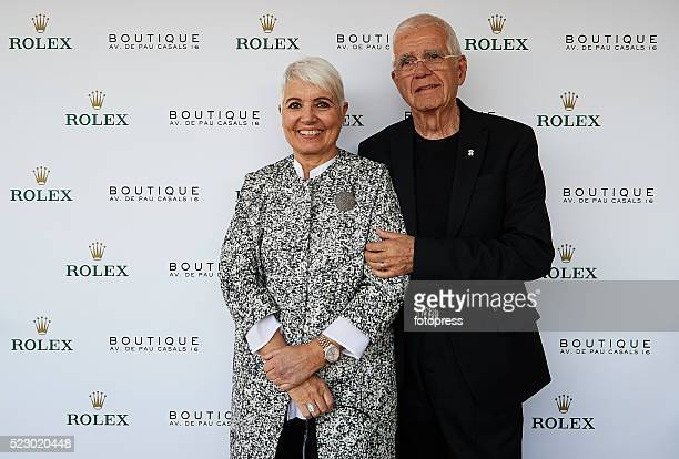 Rosa Oriol and Salvador Tous attend day three of the Barcelona Open Banc Sabadell at the Real Club de Tenis Barcelona on April 20, 2016 in Barcelona,...