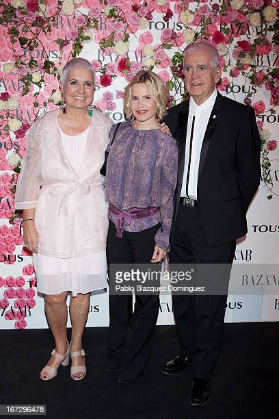 Rosa Oriol, Eugenia Martinez de Irujo and Salvador Tous attend the presentation of the new fragrance 'Rosa' at Ritz Hotel on April 23, 2013 in...