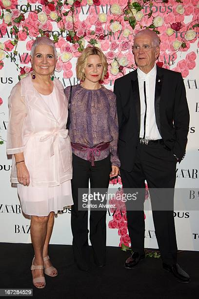 """Rosa Oriol, Eugenia Mart'nez de Irujo and Salvador Tous attend the presentation of the new fragance """"Rosa"""" at the Ritz Hotel on April 23, 2013 in..."""