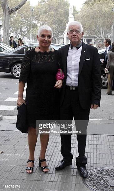 Rosa Oriol Tous and Salvador Tous attend the wedding of Pablo Lara and Anna Trufau at Santa Maria del Mar on October 26, 2013 in Barcelona, Spain.