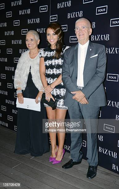 Rosa Oriol Tous, Paula Echevarria, Salvador Tous attend handbag 'Rose' by Tous presentation at Ada Palace hotel on September 20, 2011 in Madrid,...