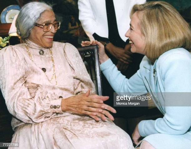 Rosa Parks and Hillary Clinton at the White House in Washington DC