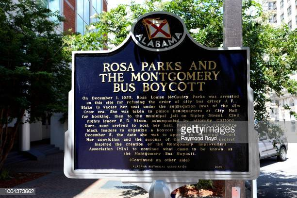 Rosa Parks and the Montgomery Bus Boycott Historic marker in Montgomery Alabama on July 6 2018