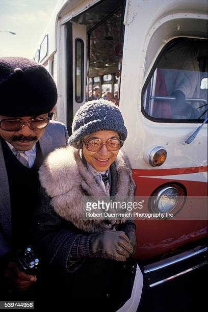 Rosa Parks is helped from a bus during a Martin Luther King Day celebration as shown in this 1995 file photo in San Antonio Texas Parks whose refusal...
