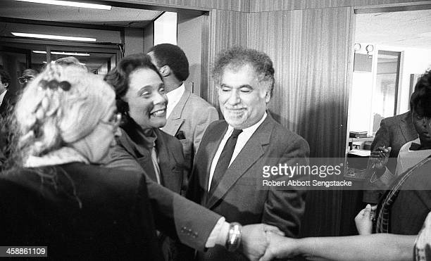 Rosa Parks, left from rear, Coretta Scott King, center, and New York Public Library president Vartan Gregorian, attend the opening of an exhibit of...