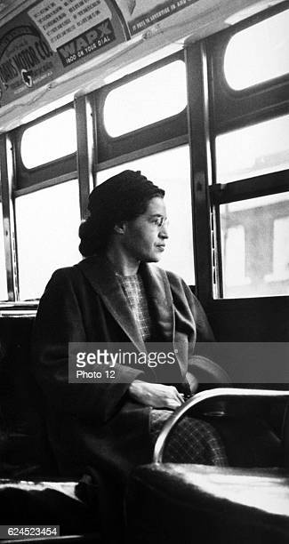 Rosa Parks sitting on a bus in Montgomery Alabama 1956