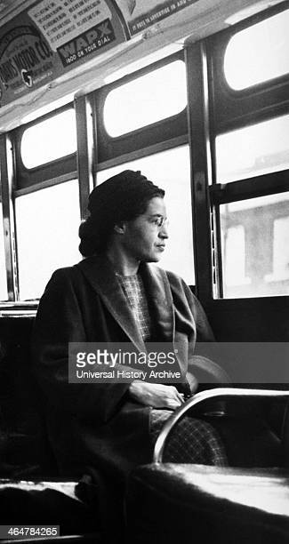 Rosa Parks sitting on a bus in Montgomery Alabama