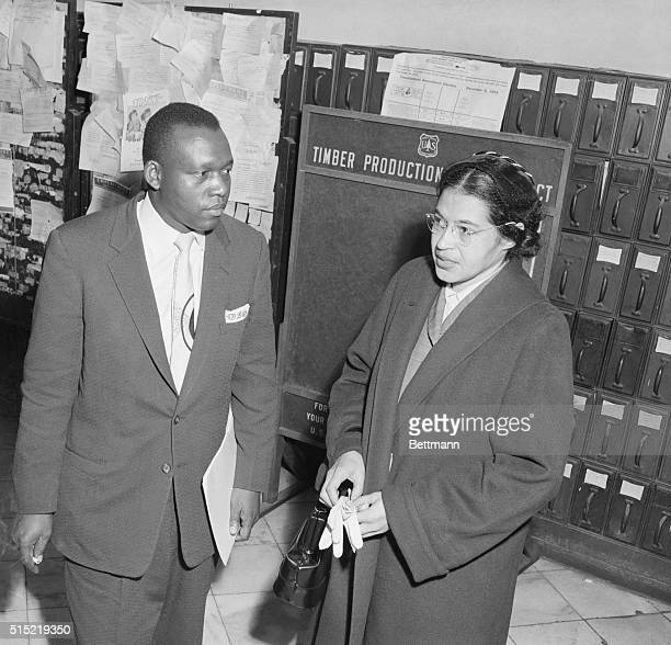 Rosa Parks with her attorney Charles D Langford after her arrest with other African American leaders for boycotting busses in a mass protest against...