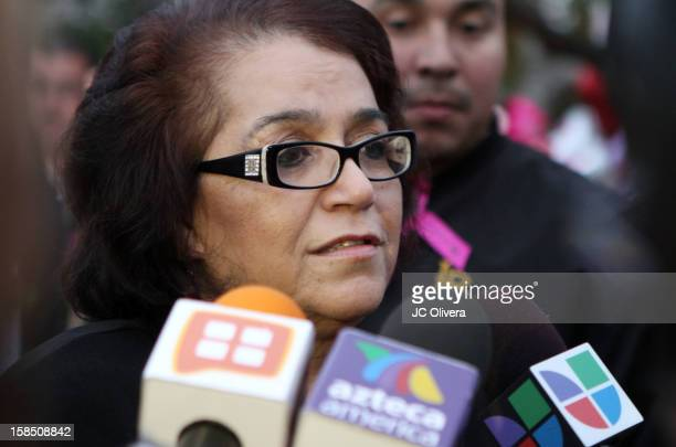 Rosa Saavedra speaks to the press regarding the memorial services in honor of her daughter Jenni Rivera to be held at the Gibson Amphitheater on...