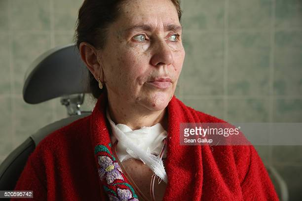 Rosa Tsaryevna recovers from surgery to her thyroid at the oncology clinic on April 6 2016 in Gomel Belarus While the link between radiation...
