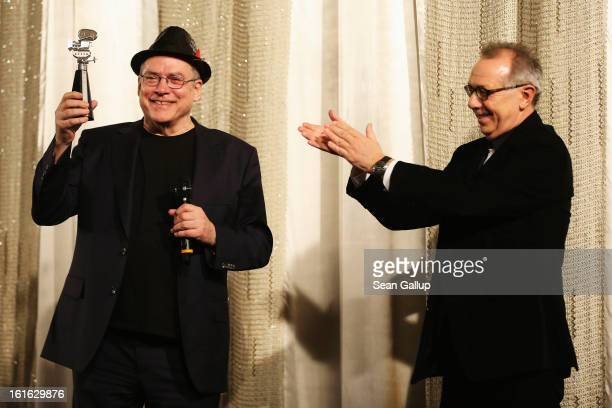 Rosa Von Praunheim and Festival Director Dieter Kosslick attend the Berlinale Camera award ceremony during 63rd Berlinale International Film Festival...