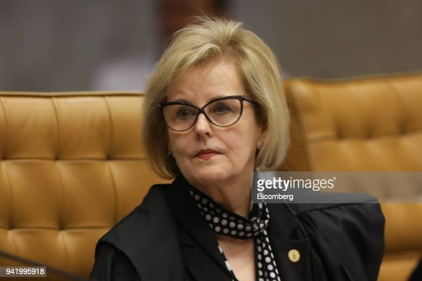 Rosa Weber justice of the Brazil Supreme Federal Court listens during a session in Brasilia Brazil on Wednesday April 4 2018 Brazil's Supreme Court...