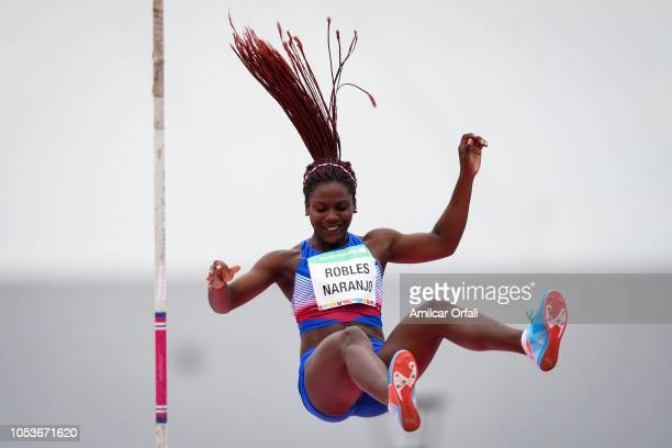 Rosaidi Robles Naranjo of Cuba competes in the Women's Pole Vault Stage 1 at Youth Olympic Park Villa Soldati on October 11 2018 in Buenos Aires...