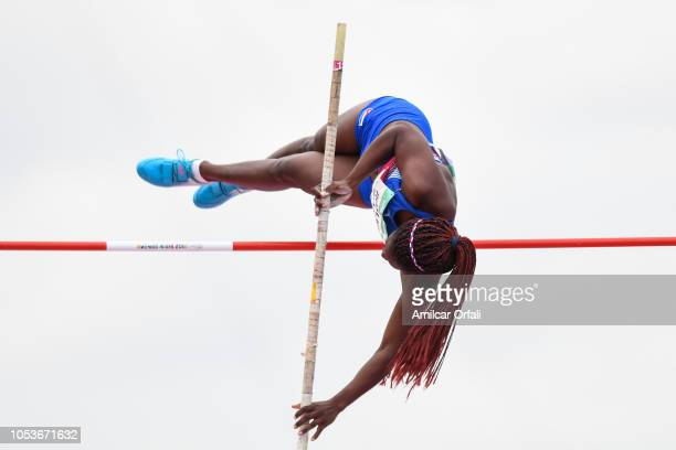Rosaidi Robles Naranjo of Cuba competes in the Women's Pole Vault Stage 1 at Youth Olympic Park Villa Soldati on October 11, 2018 in Buenos Aires,...