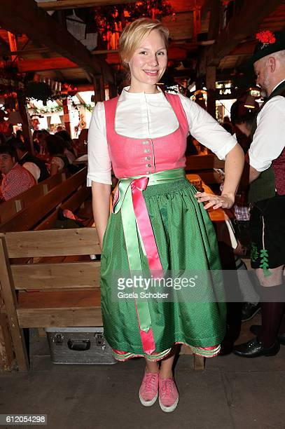 Rosaiie Thomass wearing a dirndl by 'Amsel Fashion' during the Oktoberfest at Kaeferschaenke / Theresienwiese on October 2 2016 in Munich Germany