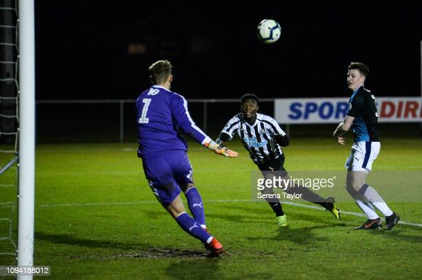 Rosaire Longelo of Newcastle United scores Newcastle's third goal past West Bromwich Goalkeeper Alex Palmer during the Premier League 2 Match between...