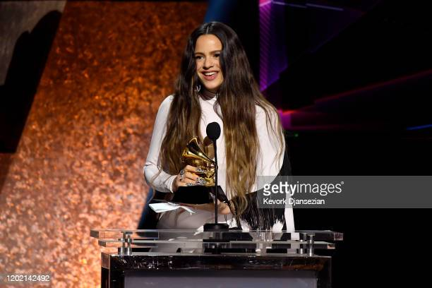 Rosalía accepts the Best Latin Rock Urban or Alternative Album award for El Mal Quere onstage during the 62nd Annual GRAMMY Awards Premiere Ceremony...