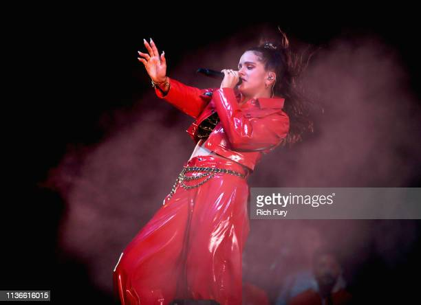 Rosalía performs on Mojave Tent during the 2019 Coachella Valley Music And Arts Festival on April 12 2019 in Indio California