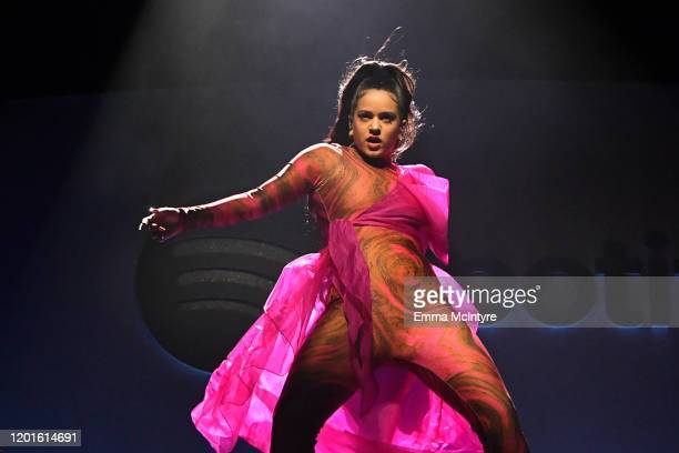 Rosalía performs onstage during Spotify Hosts Best New Artist Party at The Lot Studios on January 23 2020 in Los Angeles California