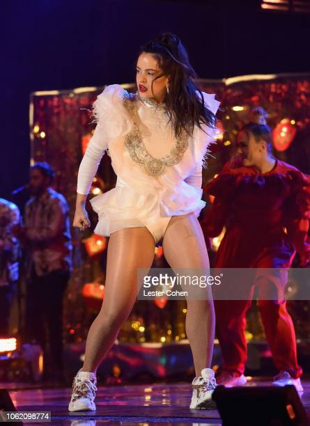 Rosalía performs onstage during the 19th annual Latin GRAMMY Awards at MGM Grand Garden Arena on November 15 2018 in Las Vegas Nevada