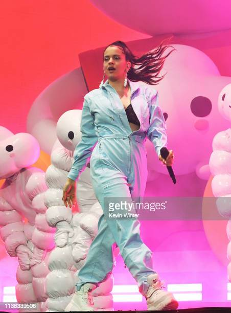 Rosalía performs with J Balvin at Coachella Stage during the 2019 Coachella Valley Music And Arts Festival on April 20 2019 in Indio California