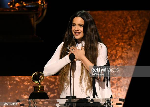 Rosalia accepts Best Latin Rock Urban or Alternative Album for El Mal Querer onstage during the 62nd Annual GRAMMY Awards Premiere Ceremony at...