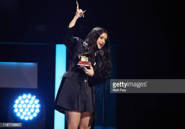 Rosalia accepts her Album of The Year Award onstage during the 20th annual Latin GRAMMY Awards at MGM Grand Garden Arena on November 14 2019 in Las...