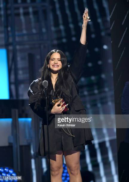 Rosalia accepts her award for Best Urban Song onstage during the 20th annual Latin GRAMMY Awards at MGM Grand Garden Arena on November 14 2019 in Las...