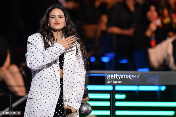Rosalia accepts the Best Collaboration Award on stage during the MTV EMAs 2019 at FIBES Conference and Exhibition Centre on November 03 2019 in...