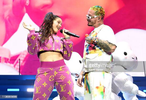 Rosalia and J Balvin perform at Coachella Stage during the 2019 Coachella Valley Music And Arts Festival on April 13 2019 in Indio California