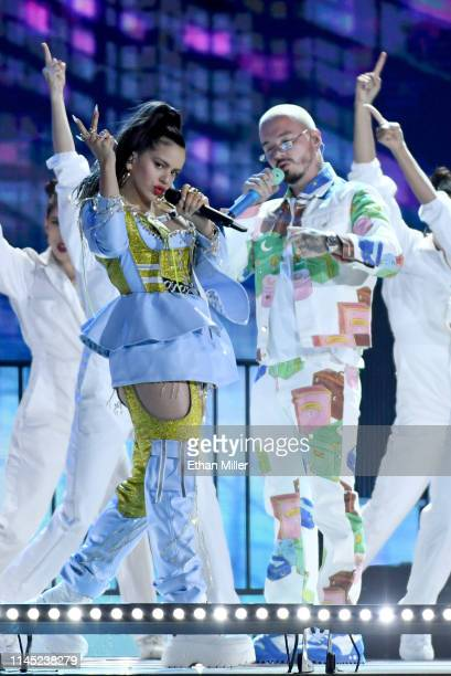 Rosalia and J Balvin perform during the 2019 Billboard Latin Music Awards at the Mandalay Bay Events Center on April 25 2019 in Las Vegas Nevada