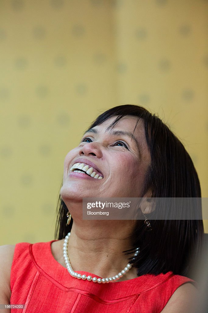 Rosalia De Leon, the Philippines' treasurer, reacts during an interview at her office in the Palacio del Gobernador in Manila, the Philippines, on Monday, Nov. 19, 2012. The Philippines plans to cut its overseas debt-sale target by as much as half in 2013 to $1.5 billion as it seeks to slow the appreciation of the peso, Asia's second-best performing currency this year. Photographer: Julian Abram Wainwright/Bloomberg via Getty Images