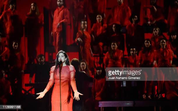 Rosalia performs during the 33rd edition of the 'Goya Cinema Awards' ceremony at Palacio de Congresos y Exposiciones FIBES on February 02 2019 in...