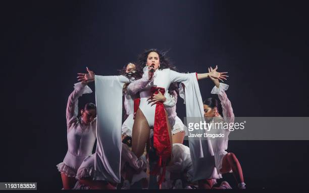 Rosalia performs on stage at WiZink Center on December 10 2019 in Madrid Spain