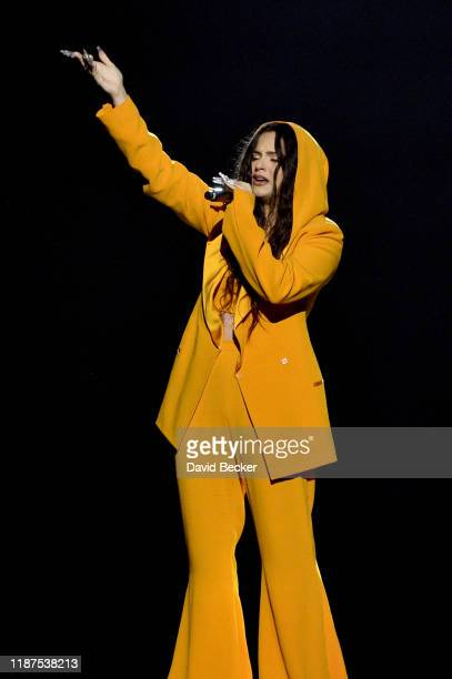 Rosalia performs onstage during the Latin Recording Academy's 2019 Person of the Year gala honoring Juanes at the Premier Ballroom at MGM Grand Hotel...
