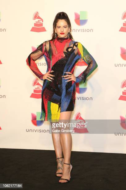 Rosalia poses in the press room during the 19th annual Latin GRAMMY Awards at MGM Grand Garden Arena on November 15 2018 in Las Vegas Nevada