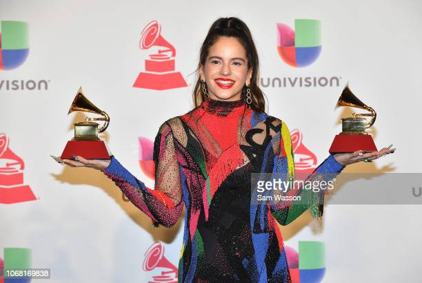 Rosalia winner of Best Alternative Song for 'Malamente' and Best Urban/Fusion Performance for 'Malemente' poses in the press room during the 19th...