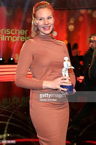 Rosalie Thomass with award during the Bavarian Film Award 2016 at Prinzregententheater on January 15 2016 in Munich Germany