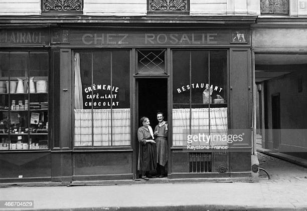 Rosalie Tobia a former model from Rome standing at the door of her Italian restaurant 'Chez Rosalie' where workers and artists like Amadeo Modigliano...