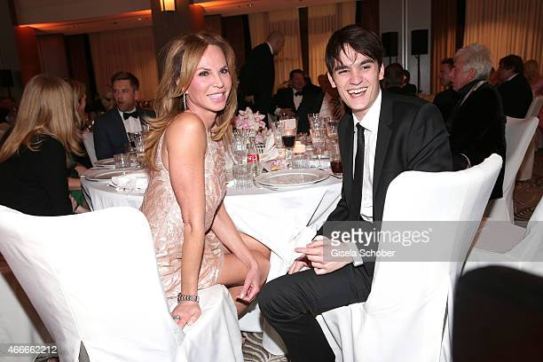 Rosalie van Breemen and her son AlainFabien Delon during the PEOPLE Magazine Germany launch party at Waldorf Astoria on March 17 2015 in Berlin...