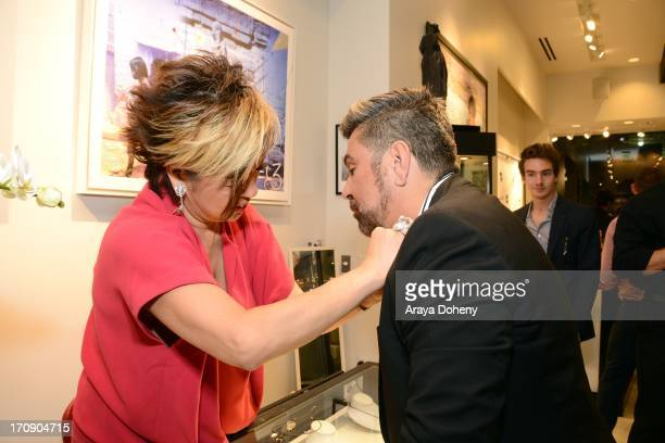 Rosalina Lydster and Luis Barajas attend a gallery exhibit of Terry O'Neill Presents The Opus A 50 Year Retrospective at Mouche Gallery on June 19...