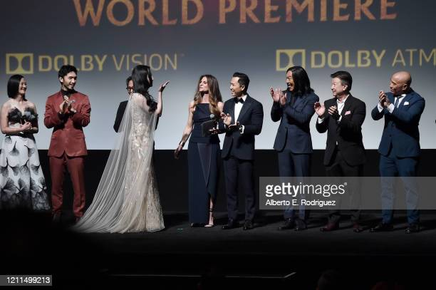 Rosalind Chao Yoson An Jet Li Yifei Liu Director Niki Caro Donnie Yen Jason Scott Lee Tzi Ma and Ron Yuan speak onstage during the World Premiere of...