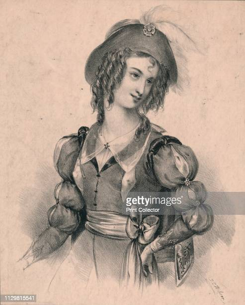 Rosalind' circa 1830s Woman wearing a revealing dress with slashed sleeves and bodice a character from As You Like It play by William Shakespeare...