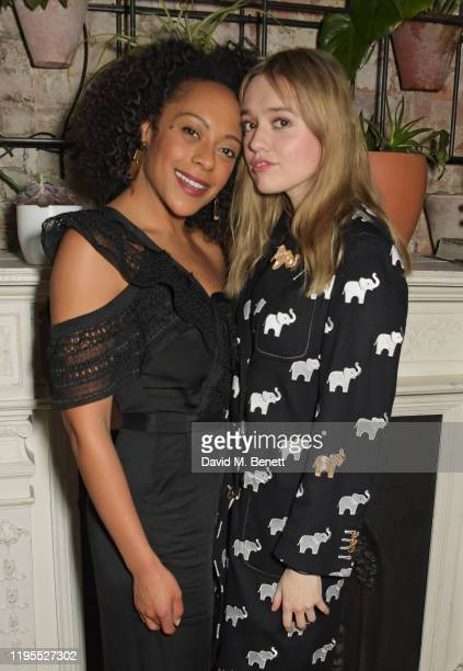 Rosalind Eleazar and Aimee Lou Wood attend the press night after party for Uncle Vanya at Sophie's on January 23 2020 in London England