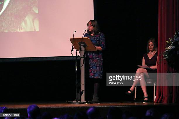 Rosalind Hodgkiss the mother of Alice Gross speaks during a public memorial service in memory of murdered schoolgirl Alice Gross held at Greenford...
