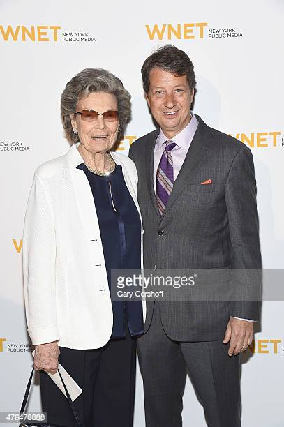 Rosalind P Walter and President CEO of WNET Neal Shapiro attend the 2015 WNET Gala at Cipriani 42nd Street on June 9 2015 in New York City