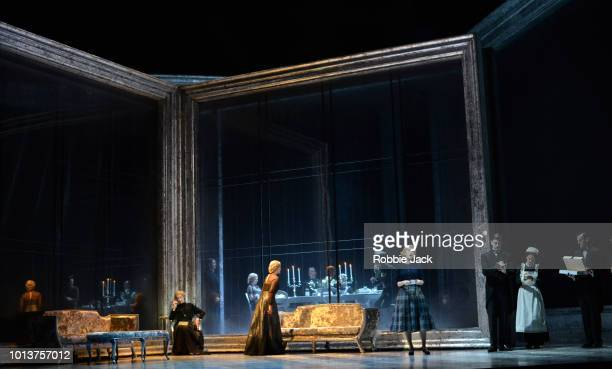 Rosalind Plowright as The Old Baroness Emma Bell as Vanessa and Virginie Verrez as Erika with artists of the company in Samuel Barber's Vanessa...