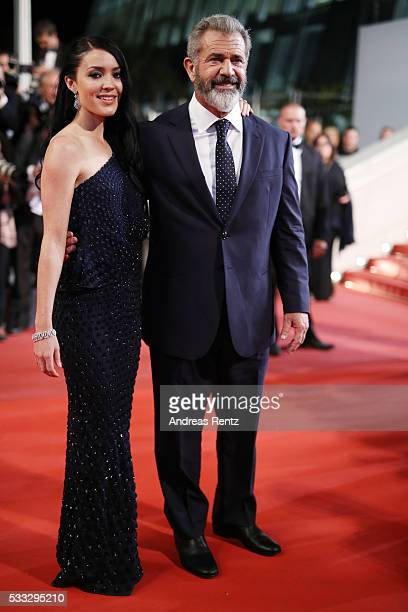 Rosalind Ross and Mel Gibson attend the Blood Father Premiere during the 69th annual Cannes Film Festival at the Palais des Festivals on May 21 2016...